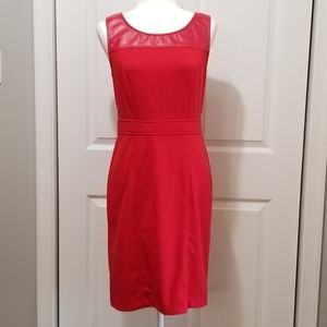 ICE Sleeveless Red Dress w/ Leather Detail